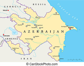 Azerbaijan Political Map with capital Baku, national...