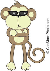 bodyguard monkey - isolated cartoon monkey, individual...