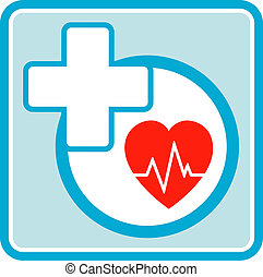 health care medical icon with cross and heart beat
