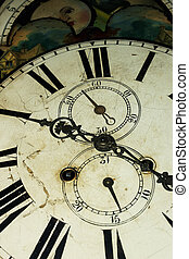 Old Style Clock Face Close Up - Old fashioned grandfather...