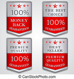 Vector silver badge label set with premium quality and best...
