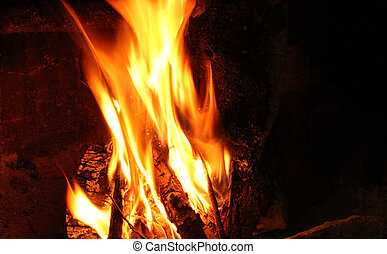 Fire Place - Open fire with large flames igniting wood