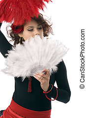 Spanish woman - Seductive spanish woman holding a red fan