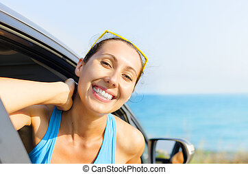 Car woman driver happy - Beautiful girl in a car smiling on...