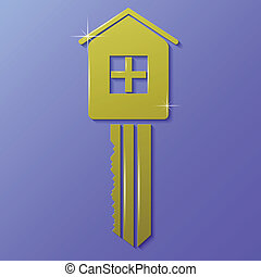 house key - colorful illustration with house key on a blue...
