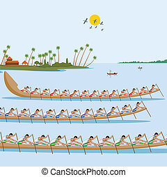 Boat race of Kerala for Onam celebration in vector