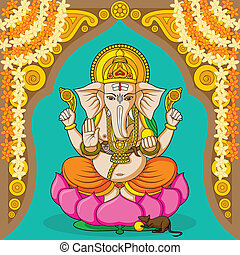 Lord Ganesha in vector for Happy Ganesh Chaturthi
