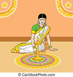 Woman making rangoli for Indian festival in vector