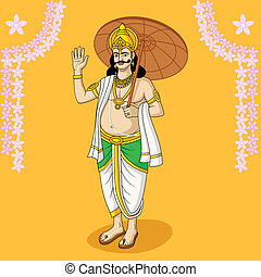 King Mahabali for Onam festival, India in vector