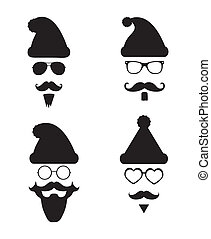 Santa Klaus fashion silhouette hipster style - Black and...