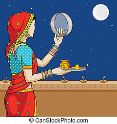 Indian woman doing Karwa Chauth ceremony in vector
