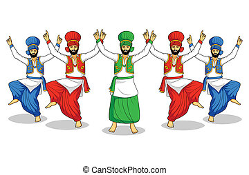 Sikh doing Bhangra, folk dance of Punjab, India in vector