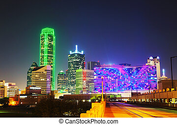Dallas cityscape at the night time - Dallas, Texas cityscape...