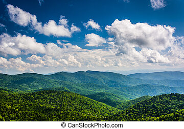 View of the Blue Ridge Mountains seen from Cowee Mountains...