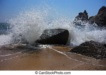 Waves on rocks - Sea rock is breaking powerful wave