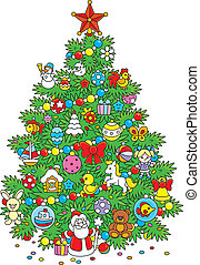 Christmas tree - Green fir decorated with colorful toys and...