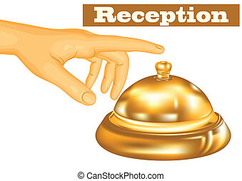 hotel receptionist. human hand and bell isolated on white