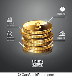 Infographic Gold Coin Business Template Concept Vector...
