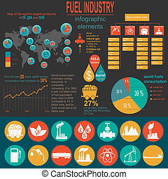 Fuel industry infographic, set elements for creating your...