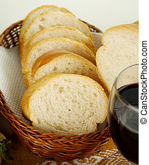 Sliced Bread Stick - Sliced bread stick in a basket with red...