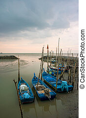 Landscape - Sunset at fisherman village in Kuala Perlis,...