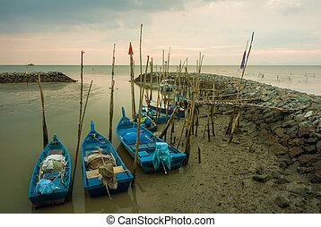 Landscape - Sunset at fisherman village in Kuala Perlis,...