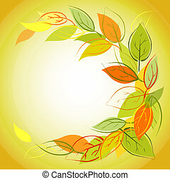 Vector autumn background with leaves