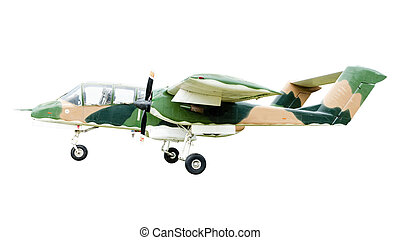 Old combat aircraft on white background - Old combat...