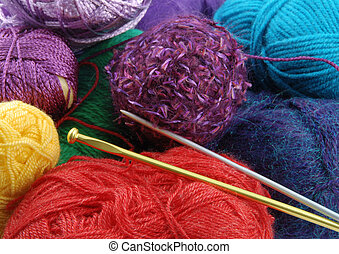 Kntiting skeins - Background made of many colorful knitting...