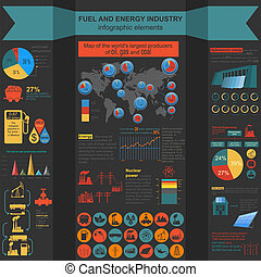 Fuel and energy industry infographic, set elements for...