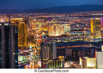 Overview of downtown Las Vegas in the night - LAS VEGAS -...