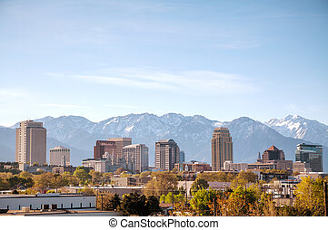 Salt Lake City downtown overview in the morning