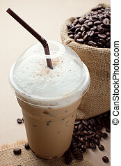 ice coffee - iced blended frappucino, coffee beans