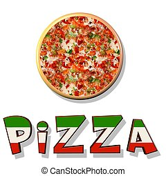 Pizza - an Illustration showing a pizza pie over a white...