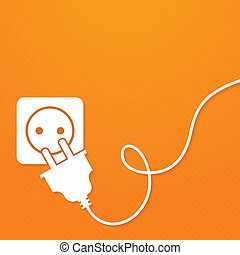 Electricity icon flat with plug and socket on orange...