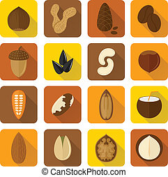 Nuts Icons Set - Nuts icons set with walnut hazelnut...