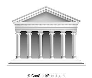 Temple with colonnade - Realistic antique temple with ionic...