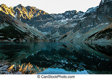 Lake in the mountains - Valley of five ponds Poland