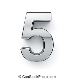 3d render of metalic digit five simbol - 5. Isolated on...