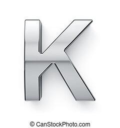 3d render of metalic alphabet letter simbol - K. Isolated on...