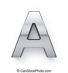 3d render of metalic alphabet letter simbol - A. Isolated on...