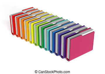 Colorful folders set isolated - 3d render of colorful...