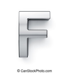 3d render of metalic alphabet letter simbol - F. Isolated on...