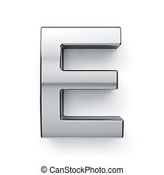 3d render of metalic alphabet letter simbol - E. Isolated on...