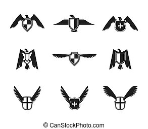 Eagle Icon Shield Set - Eagle wings spread lift up and open...