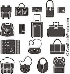 Bags icons set - Female fashion and luggage bags black...