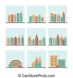 Cityscape icons set - Residential industrial and modern...