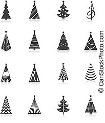 Christmas tree icons black
