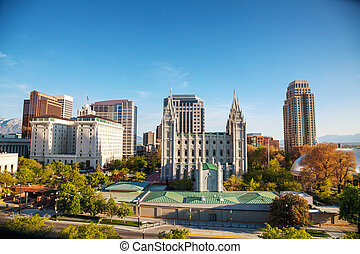 Salt Lake City downtown overview - Salt Lake City panoramic...