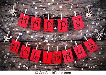 Wintry Happy Holiday Tags - Red Tags with Happy Holidays on...